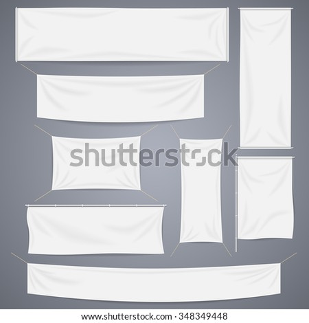 White textile banners with folds templates #348349448