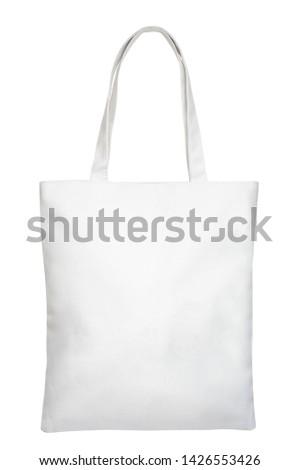 White textile shopper bag isolated on white background