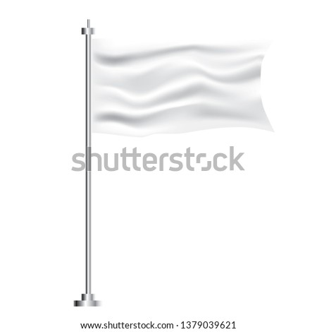 White Textile Waving Empty Flag on Transparent Background.  #1379039621