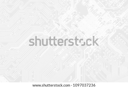 White texture background of printed circuit board. Digital tech background. Information technology. Space for text. #1097037236
