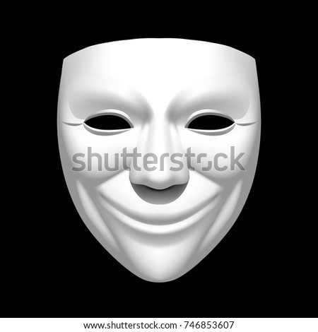 White theatrical smiling mask isolated on black