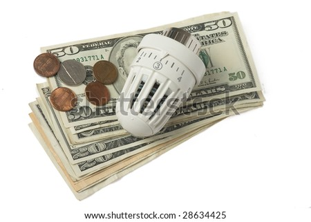 white thermostat and money on white background