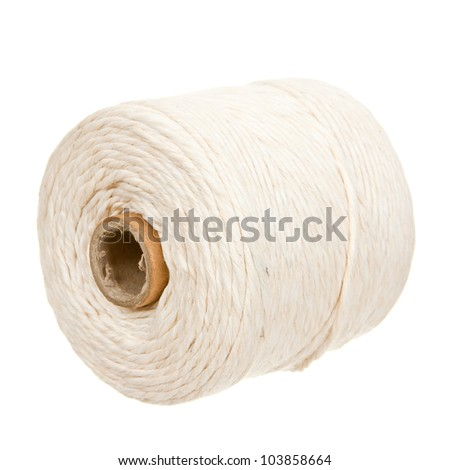 White thread spool isolated on white background