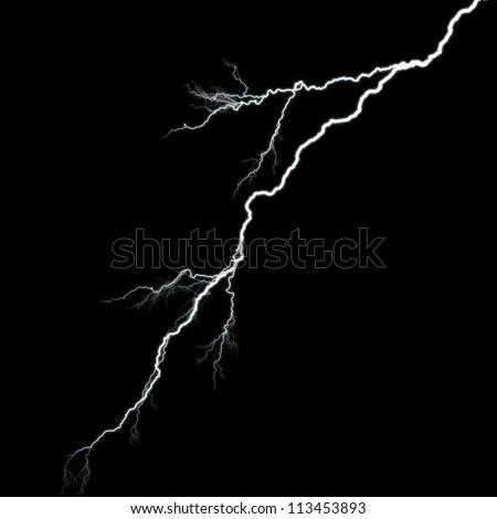 white thunder isolated on black background