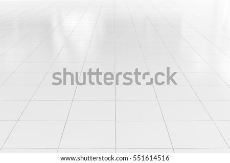 White tile floor background in perspective view. Clean surface and symmetry with grid line texture or pattern. For decoration in bathroom, kitchen and laundry room. Foto stock ©