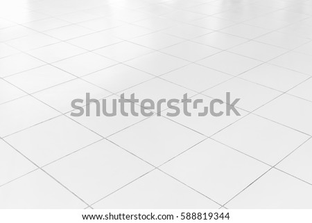 White tile floor with geometric line for background.