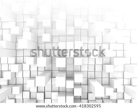 Stock Photo White tiles wall extruded background, 3d illustration.