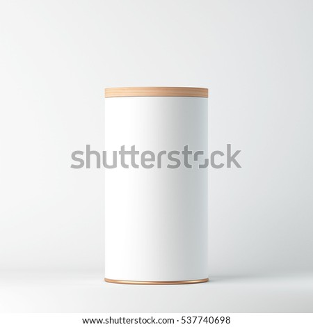White Tin Can Mockup with wooden cover, lid. Cylindrical packaging, Tea, coffee. 3d rendering Сток-фото ©