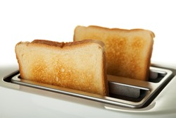White toaster with two slices of bread