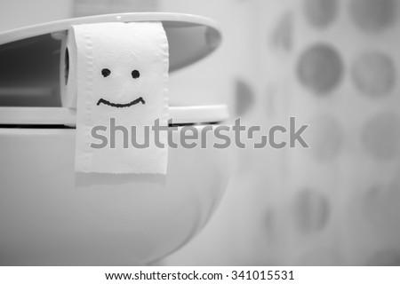 White toilet bowl and Toilet Paper #341015531