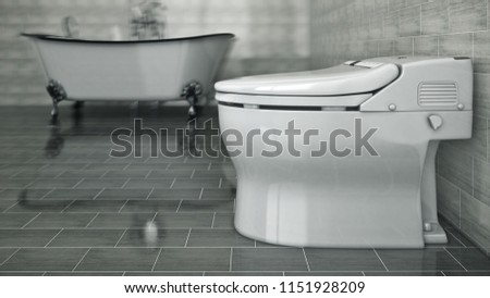 White toilet bowl in a bathroom. 3d rendering #1151928209
