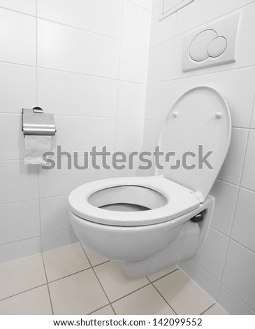White toilet bowl in a modern bathroom.