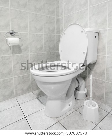 White toilet bowl in a modern bathroom. Hygiene concept.