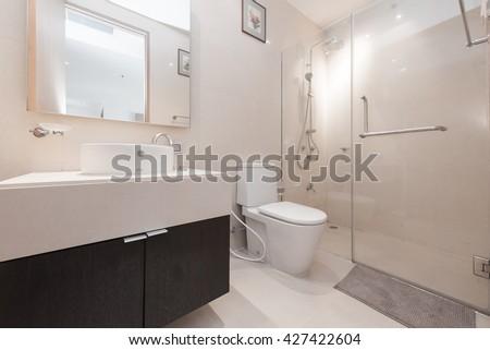 White toilet bowl in the bathroom. #427422604