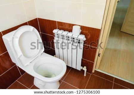White toilet bowl in the restroom