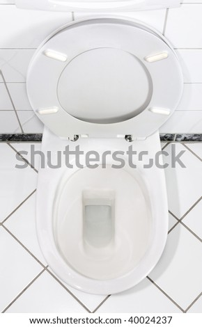 White Toilet bowl with open lid