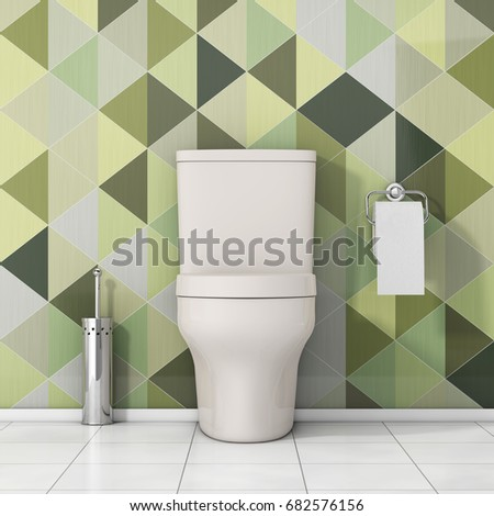White Toilet Bowl with Toilet Paper and Metallic Toilet Brush in front of Olive Green Geometric Tiles extreme closeup. 3d Rendering