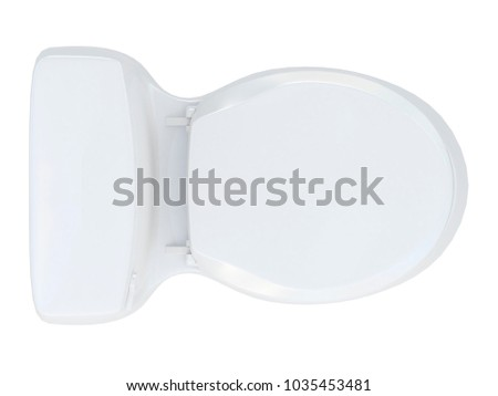 white toilet or wc from top view isolated on a white background 3d rendering