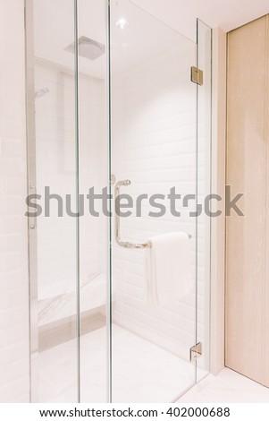White toilet seat decoration in bathroom  interior - Vintage Light Filter