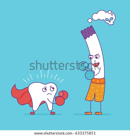 White tooth fighting or boxing with cigarette. Cartoon characters in flat line style. Bad habits, smoking and oral health, unhealthy lifestyle. Superhero tooth symbol.