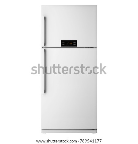 White Top Mount Fridge Freezer Isolated on White Background. Side View of Stainless Steel Double Door Refrigerator. Electric Appliances. Kitchen Appliances. Domestic Appliances. Smart Refrigerator #789541177