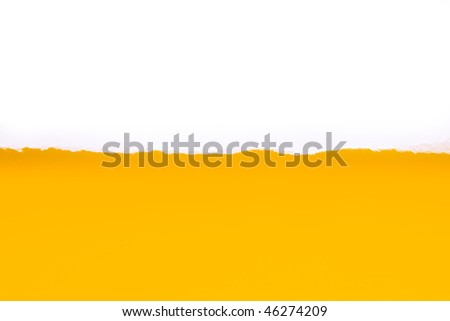 White Torn paper on yellow background. Focus directly on rough paper edge