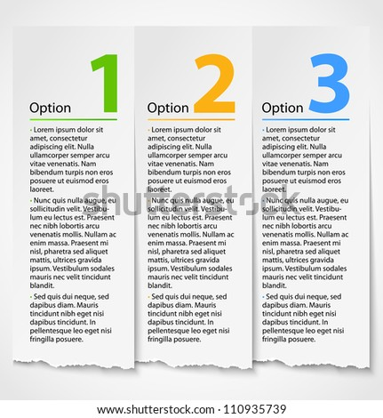White torn paper progress option label background with description. Numbered banners