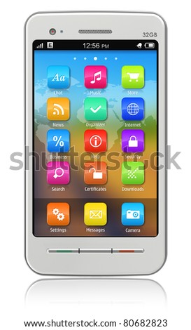 White touchscreen smartphone isolated on white reflective background