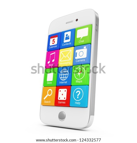 White Touchscreen Smartphone with Application Icons isolated on white background
