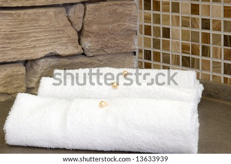 White towel decoration on the table. #13633939