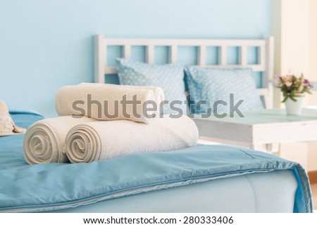 White towel in Hotel Room,Room service,Thailand.