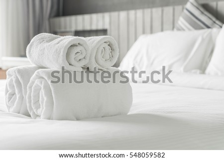white towel on bed decoration...