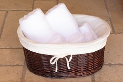 white towels on a basket