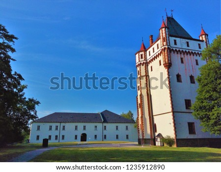 White Tower at Hradec nad Moravici Chateau Complex, parks and gardens near Opava, Czech Republic - one of most beautiful chateaus in area and popular tourist attraction of Moravian - Silesian Region #1235912890