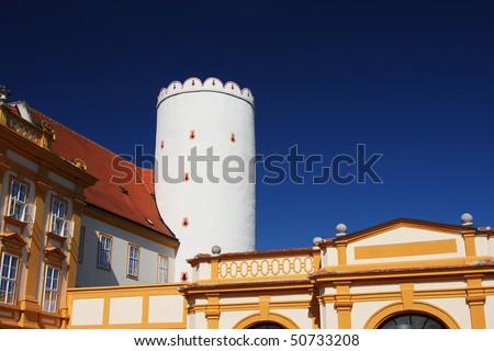 White tower in the Melk Abbey in Melk (by the Danube), Wachau region, Austria