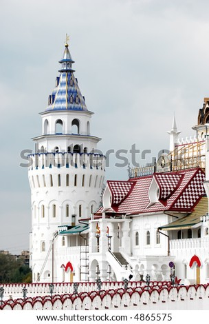 White tower. Kremlin in Izmailovo district. Moscow. - stock photo