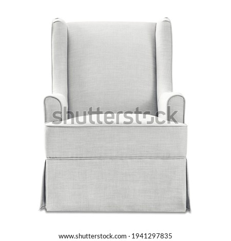 White Transitional Swivel Glider Chair with Cording and Tall Dressmaker Skirt Isolated. Modern Wingback Accent Armchair with Upholstered Armrests Front View. Classic Interior Furniture. Wing Sofa Set Foto stock ©