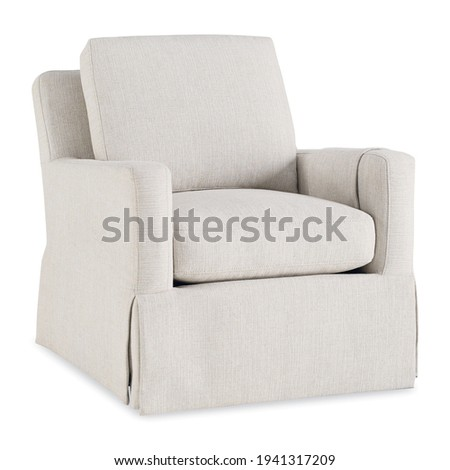 White Transitional Swivel Glider Chair with Cording and Tall Dressmaker Skirt Isolated. Modern Wingback Accent Armchair Upholstered Armrests Front Side View. Wing Sofa Set. Classic Interior Furniture Foto stock ©