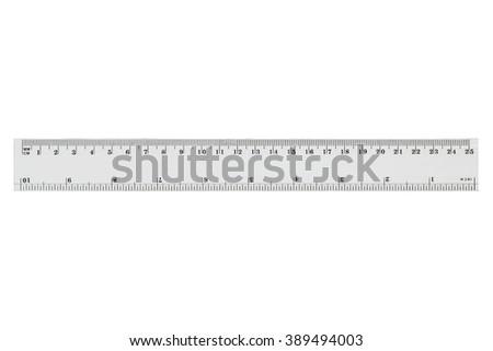 White transparent ruler, isolated on white background
