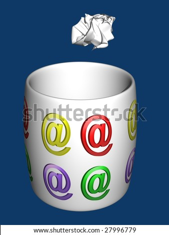 White trash with e-mail symbols and sheet of paper  convoluted on a blue background