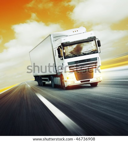 White truck on asphalt road under red abstract sky with clouds