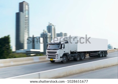 White Truck on highway road container, transportation concept.,import,export logistic industrial Transporting Land transport on the expressway #1028651677
