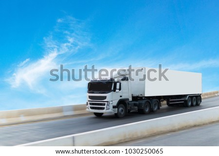 White Truck on highway road container, transportation concept.,import,export logistic industrial Transporting Land transport on the expressway #1030250065