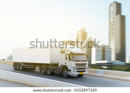 White Truck on highway road container, transportation concept.,import,export logistic industrial Transporting Land transport on the expressway #1032897289