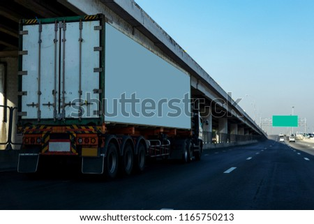 White Truck on highway road with  container, transportation concept.,import,export logistic industrial Transporting Land transport on the asphalt expressway #1165750213