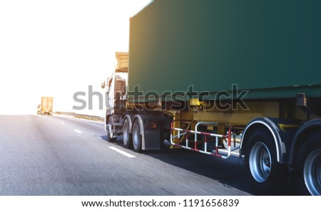 White Truck on highway road with green  container, transportation concept.,import,export logistic industrial Transporting Land transport on the asphalt expressway #1191656839