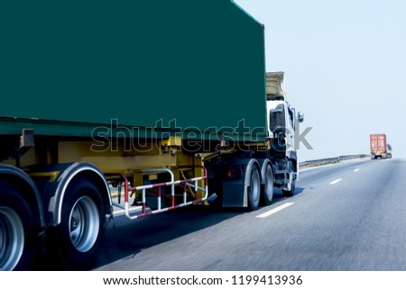 White Truck on highway road with green  container, transportation concept.,import,export logistic industrial Transporting Land transport on the asphalt expressway #1199413936