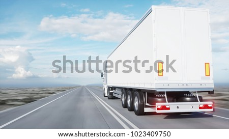 white truck. trailer on the road, highway. Transports, logistics concept. 3d rendering. #1023409750