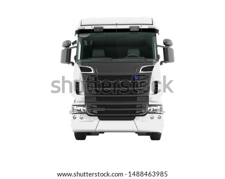 White truck with black inserts with carrying capacity of up to five tons front view 3d render on white background no shadow