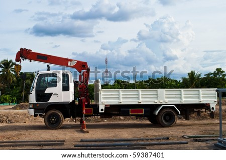 White Truck with lift in factory